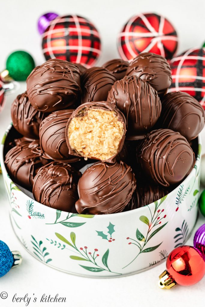 The finished truffles served in a holiday tin.