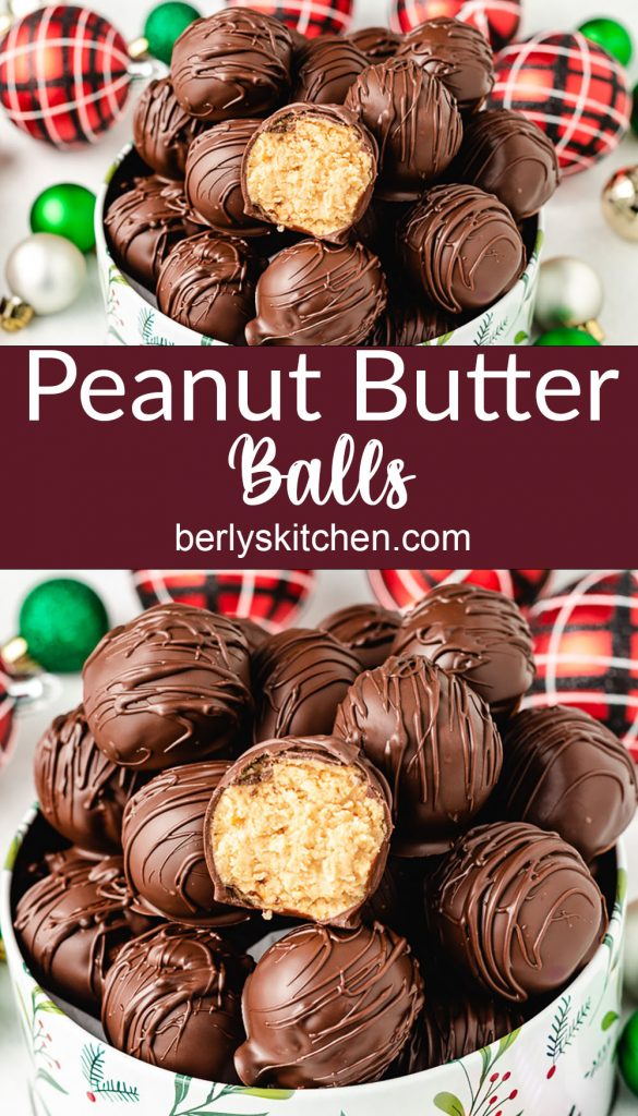 Two stacked photos of the peanut butter balls in decorative tins.