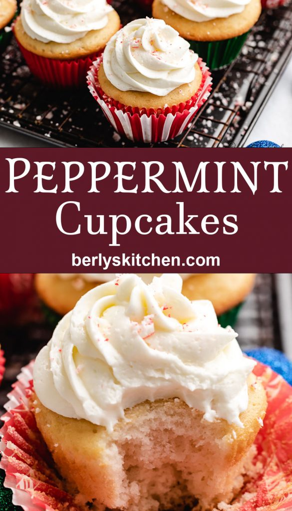 Two stacked photos showing the peppermint cupcakes.