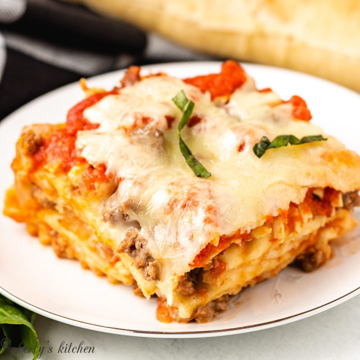 A serving of ravioli lasagna on a plate.