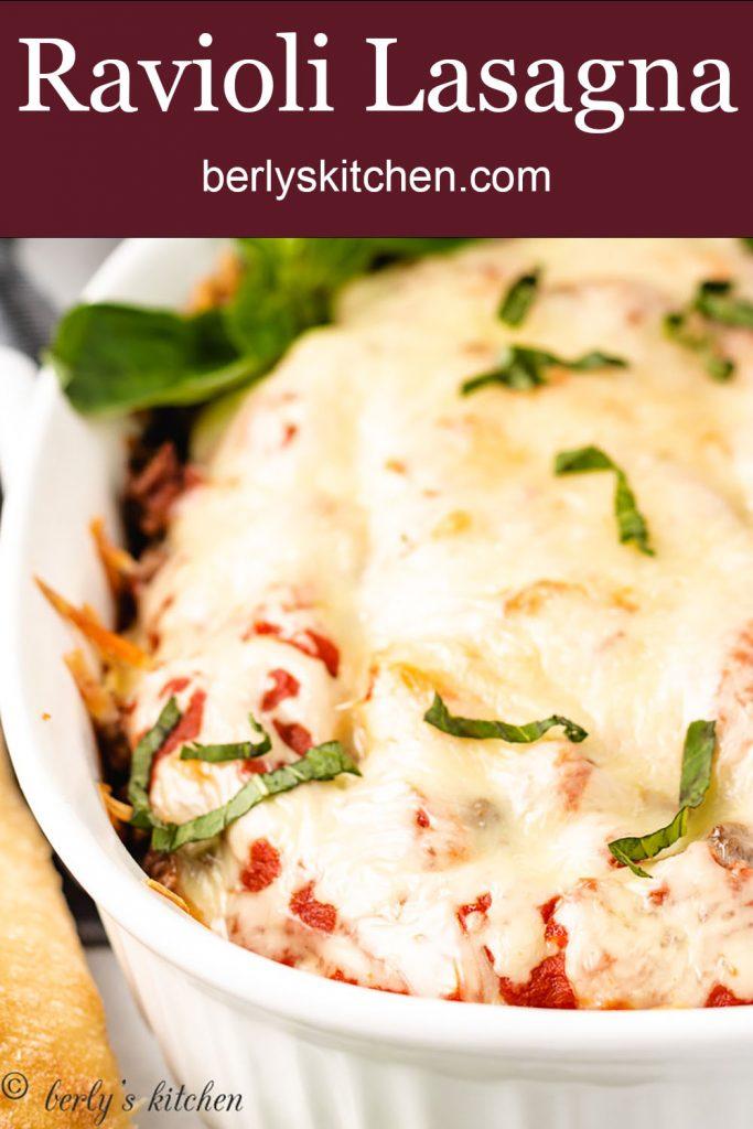 A closer view of the fresh baked ravioli lasagna.