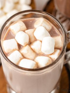 An aerial view of the RumChata hot chocolate with marshmallows.