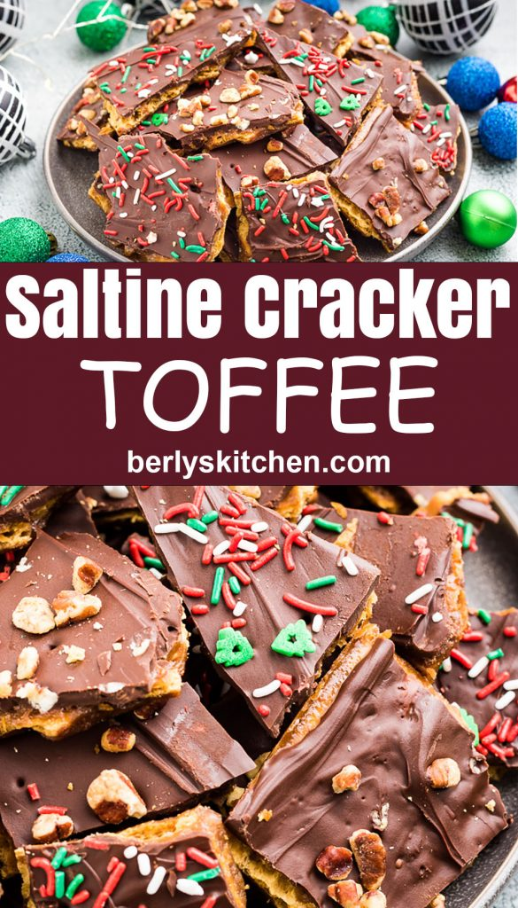 Two stacked photos showing the saltine cracker toffee.