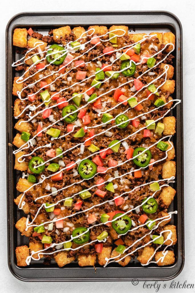 Top down view of loaded totchos.