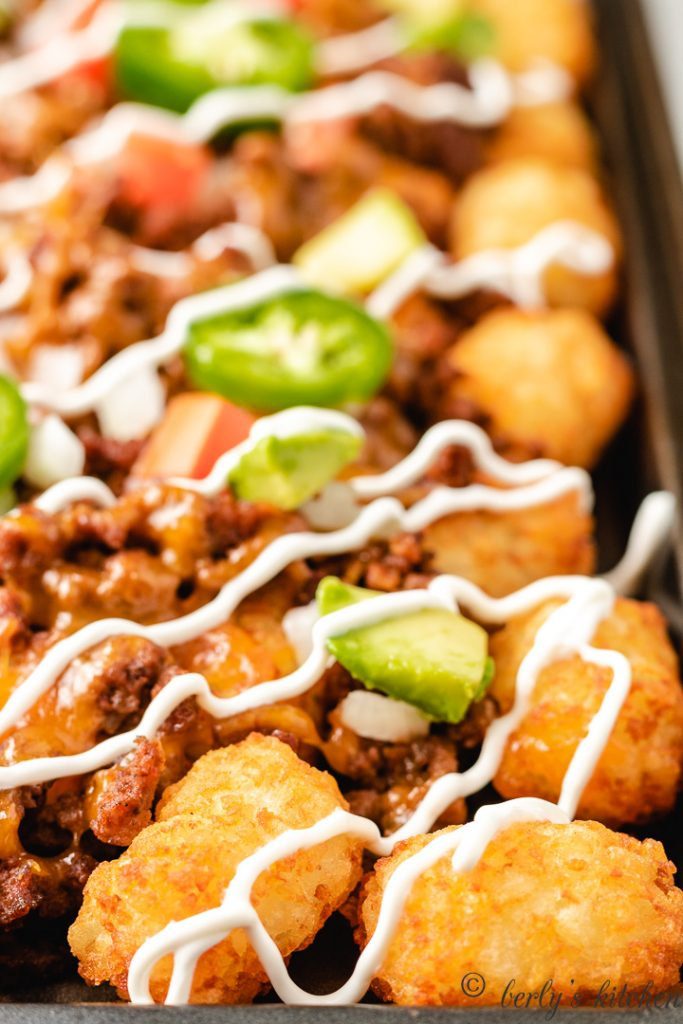 Close up of tater tot nachos.