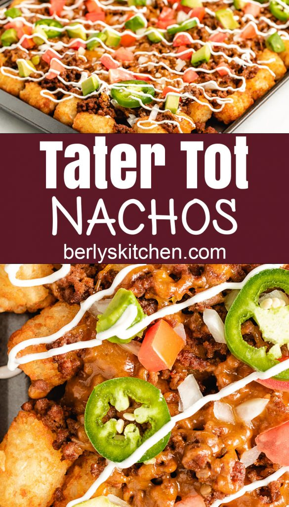 Close up photos of totchos.