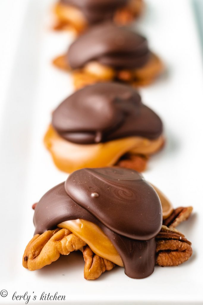 An up-close view of the pecan candy.