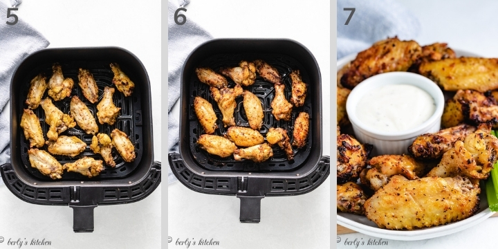 Collage photo showing how chicken wings look in an air fryer.