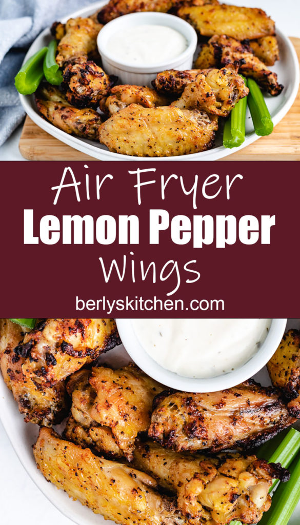 Lemon pepper chicken wings with ranch dressing.