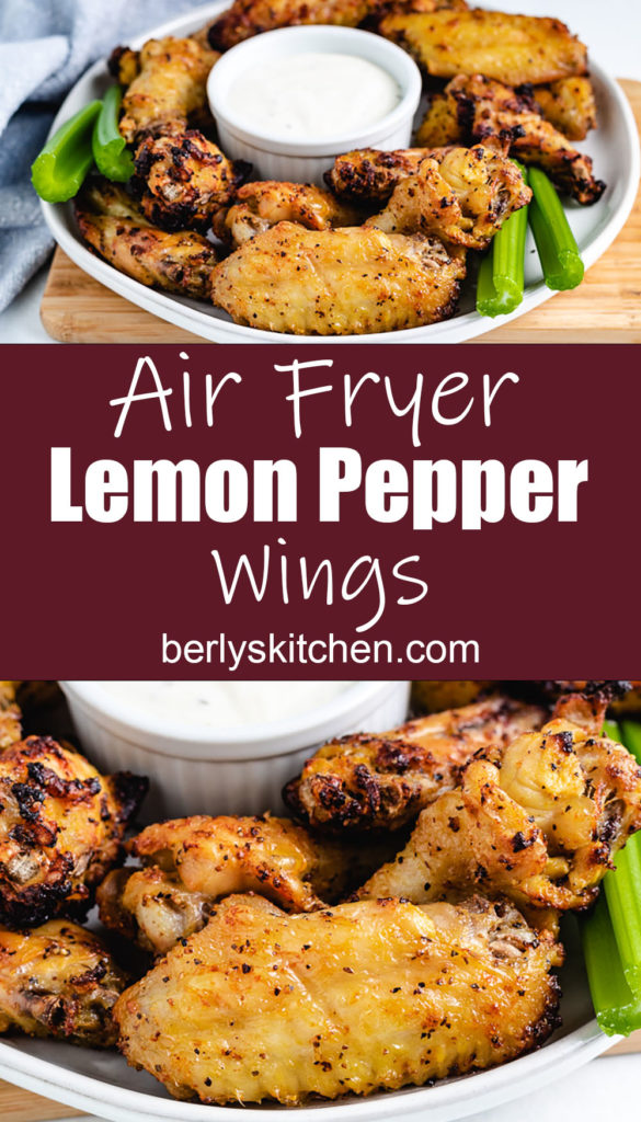 Air fryer chicken wings on a plate with celery.
