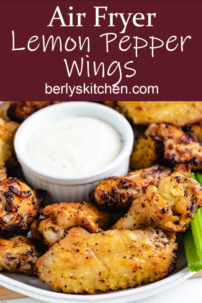 Chicken wings with ranch dressing.