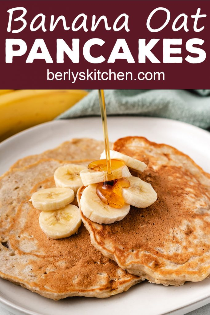 Banana oat pancakes with maple syrup.