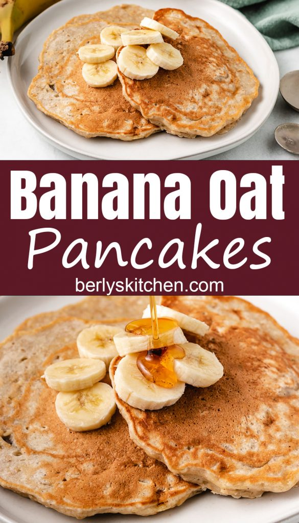 Collage-style photos of banana oat pancakes on a gray plate.
