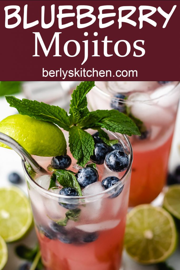 Mojito with fresh blueberries, mint, and lime.