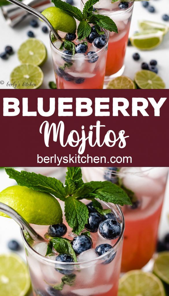 Collage-style photo showing two highball glasses of blueberry mojito.