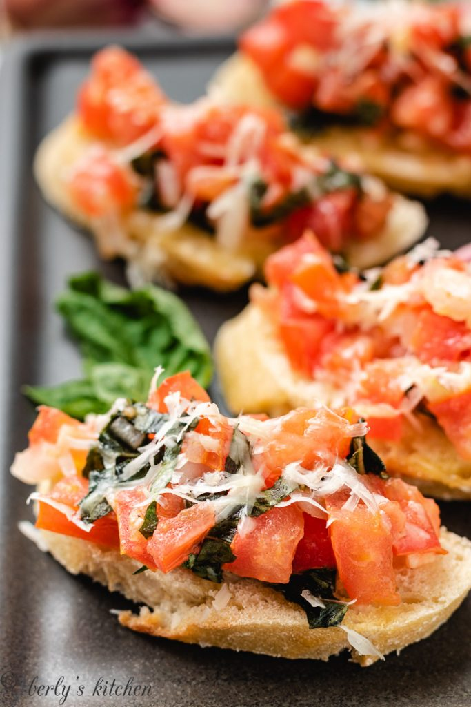 Up close photo of an easy bruschetta recipe on toast.