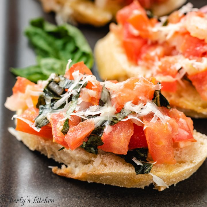 Easy tomato bruschetta with fresh basil.