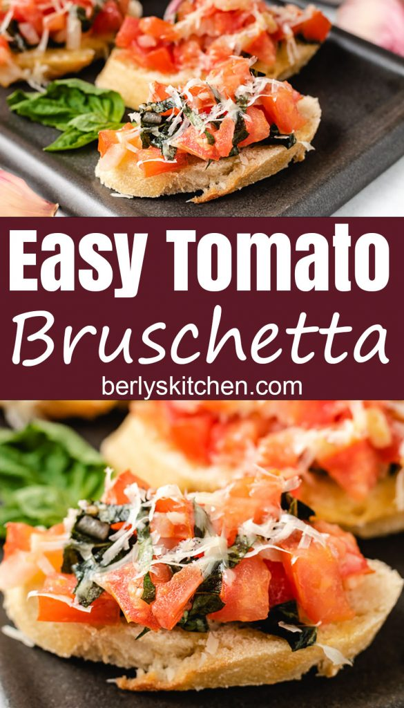 Collage-style photos of simple tomato bruschetta with basil.