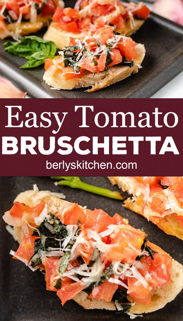 Two photos of bruschetta on crostinis.