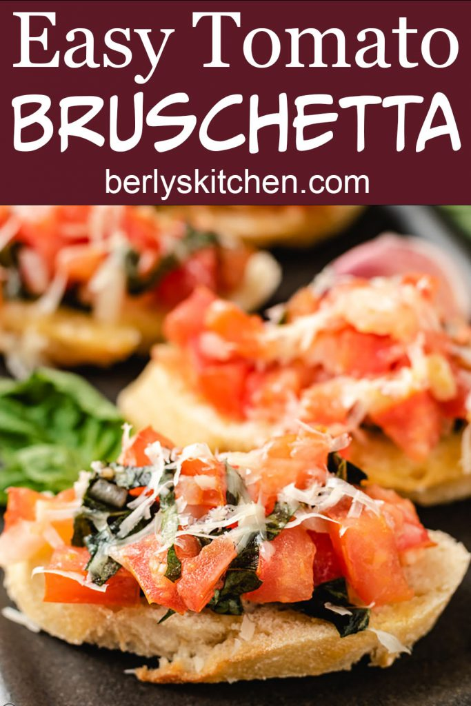 Two photos of bruschetta in a collage.