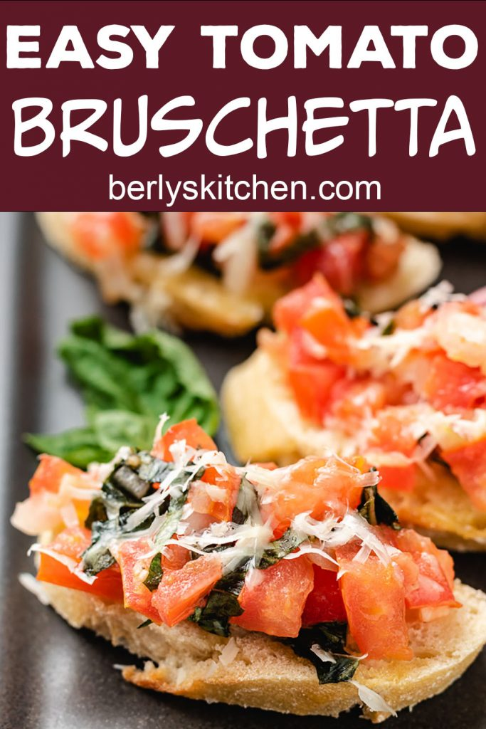 Tomato bruschetta on French bread.