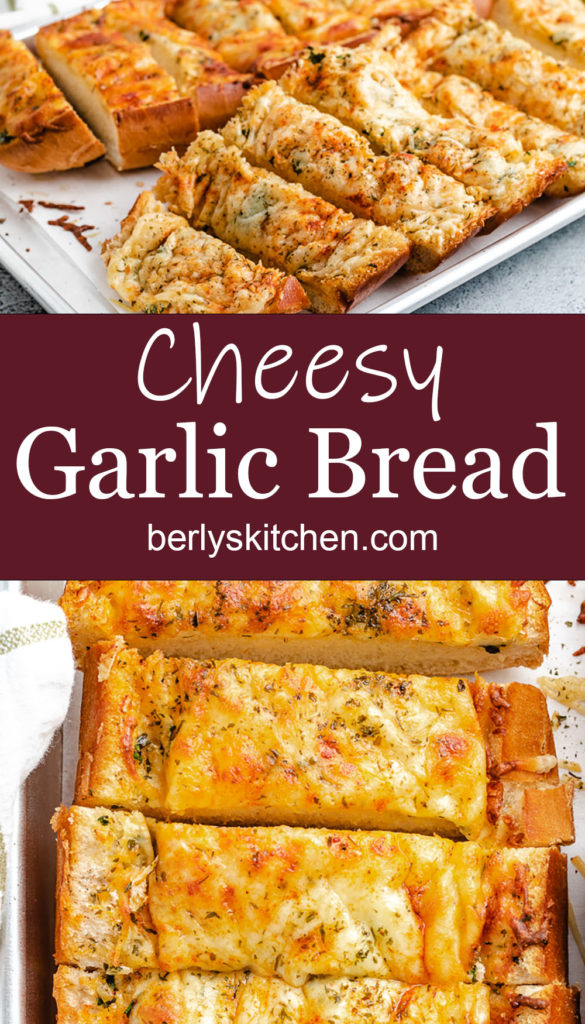 Two collage style photos of cheesy garlic bread.