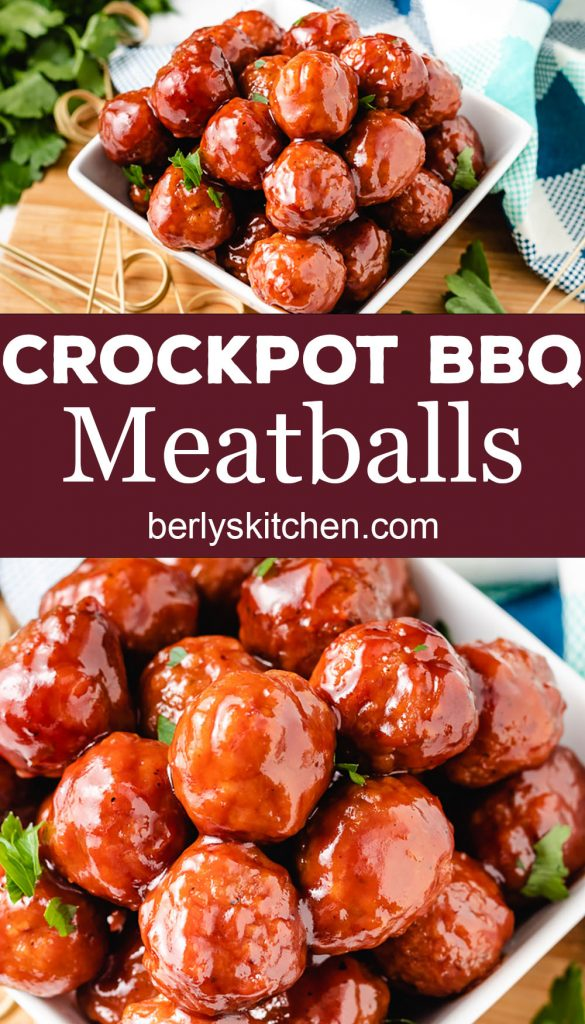 Two photos of sauced crockpot meatballs.
