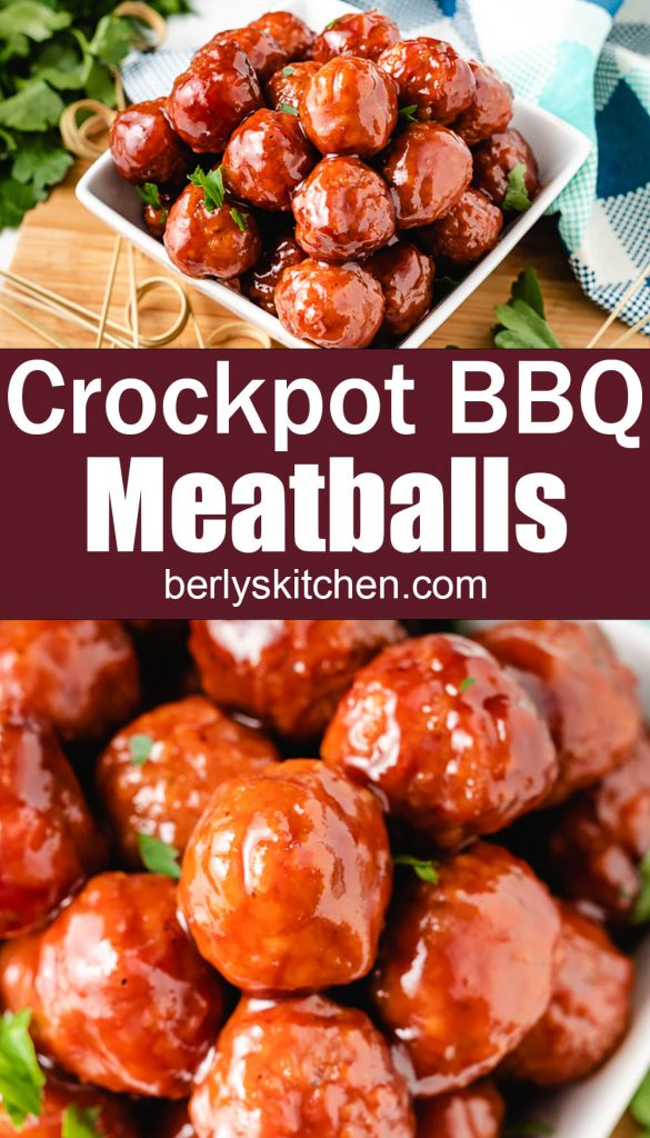 Crockpot BBQ meatballs with wooden toothpicks.