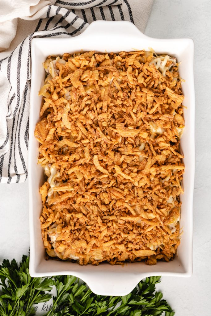 Casserole topped with French fried onions.