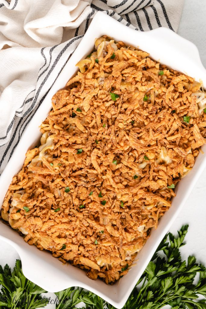 Ariel view of beef noodle casserole with French fried onions.