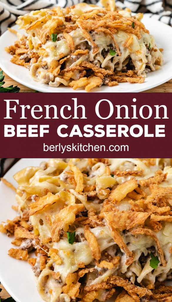 Two photos of French onion beef casserole in a collage.