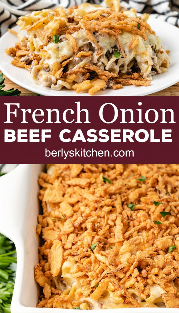 Collage style photo of French onion beef casserole.