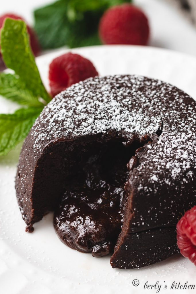 Molten chocolate lava cake with melted filling.
