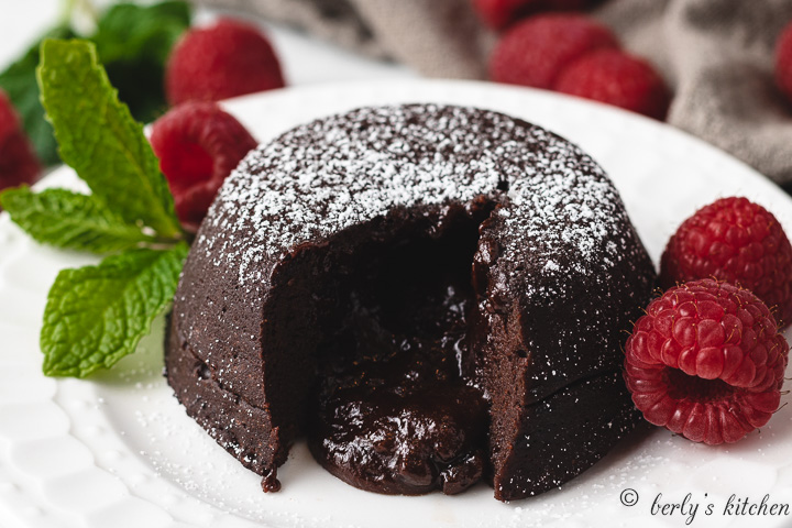 Instant Pot Lava Cakes on a white plate.
