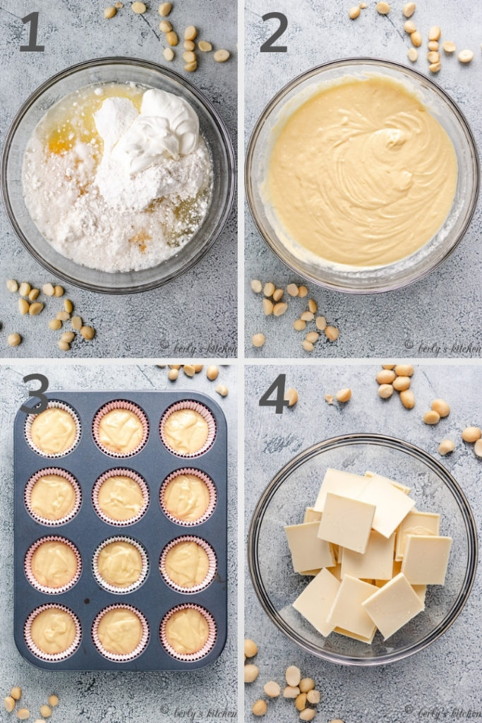 Collage style photo showing how to make macadamia cupcake batter.