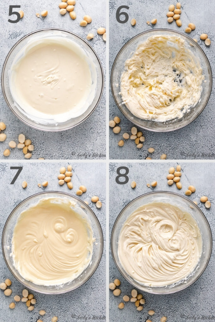 Collage style photo showing how to make white chocolate frosting.