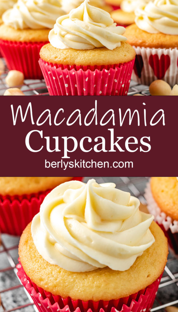 Collage style photo of several macadamia cupcakes in pink liners.