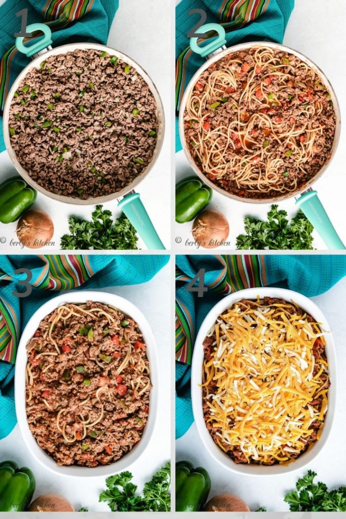 Four photos in a collage showing how to make mexican spaghetti.