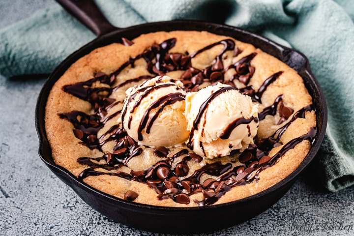 Mini Skillet Cookie in a cast iron skillet.