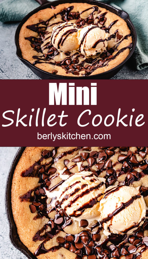 Two photos of a large chocolate chip cookie in a skillet.