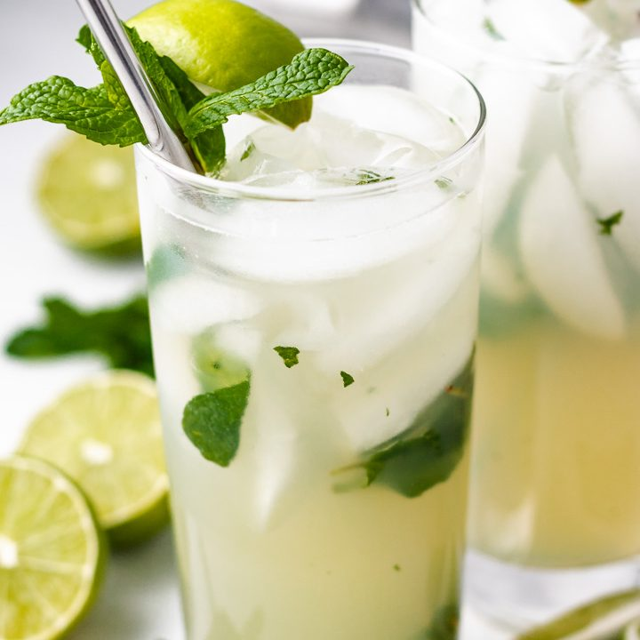 The lime and mint cocktails served over ice.