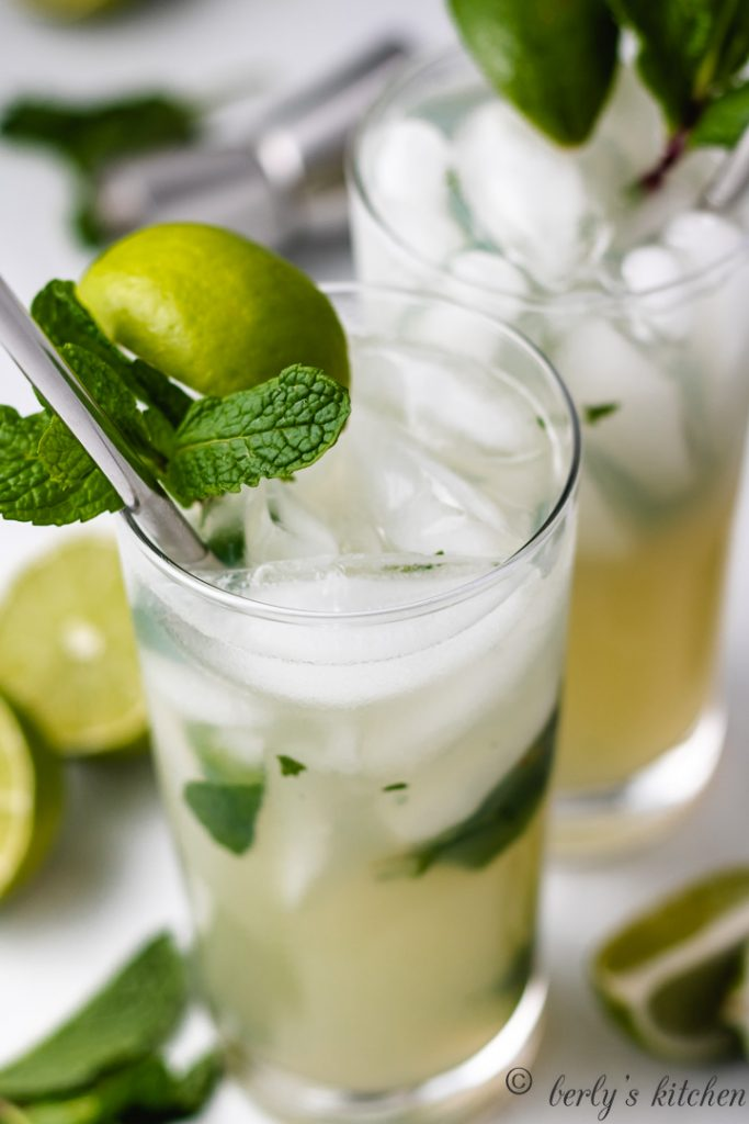 A close-up view of the finished lime and mint cocktail.