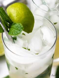 An aerial view of the a finished mojito in a glass.