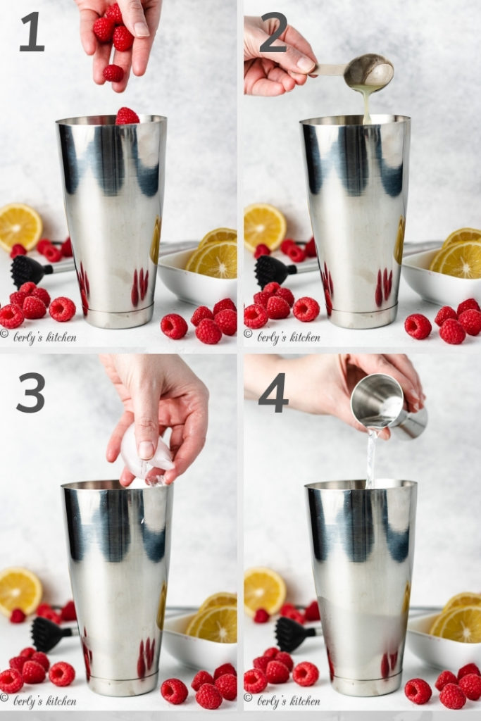 Collage of four photos showing how to make a Raspberry Martini.