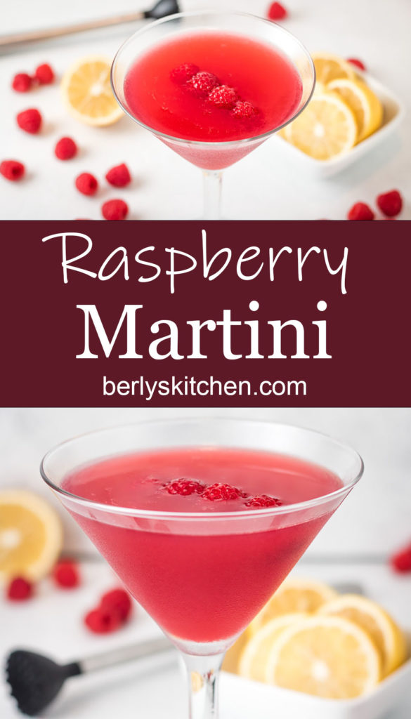 Raspberry Martini in a long stemmed martini glass.