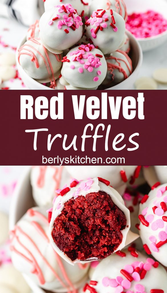 Truffles with pink sprinkles and drizzle in white bowls.