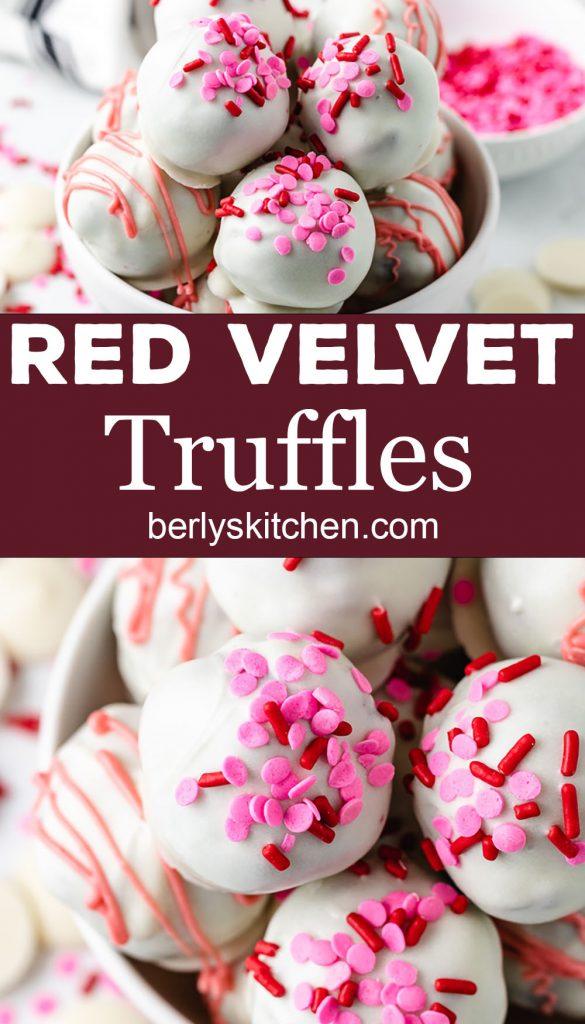 Two photos of red velvet truffles in white bowls.