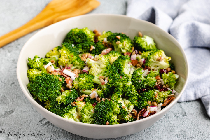 Broccoli bacon salad in a gray bowl.