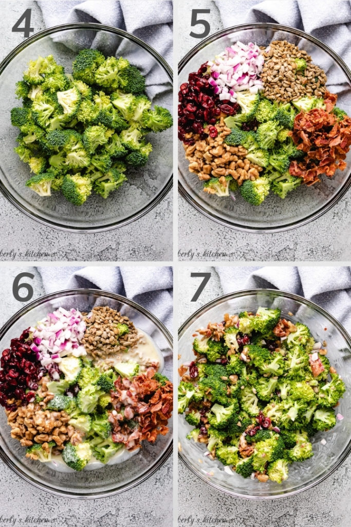Collage style photo showing how to mix broccoli salad.