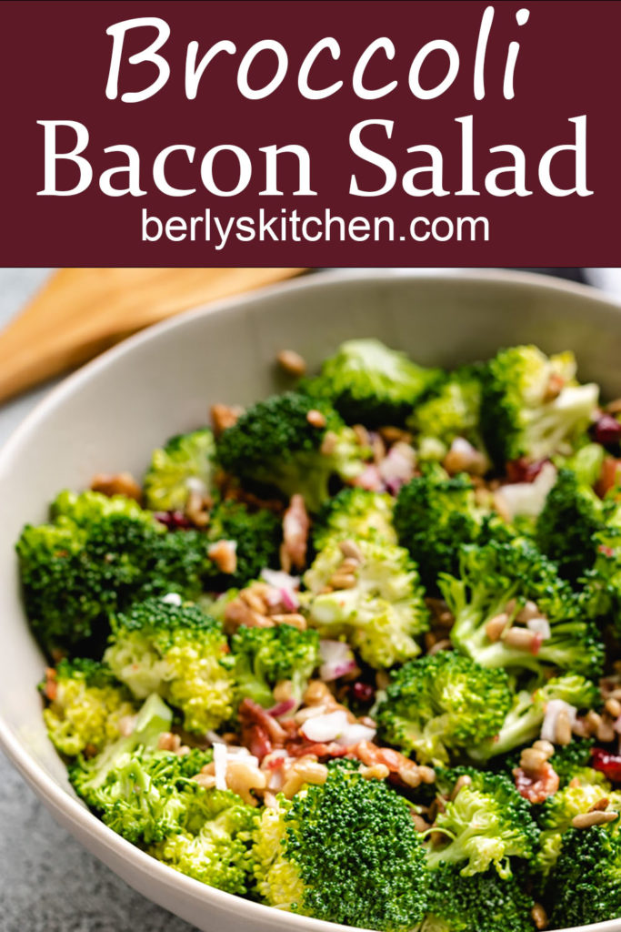 Close up photo of broccoli salad with bacon.